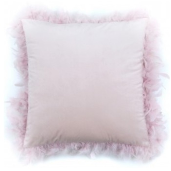 Pink Feather Edged Cushion