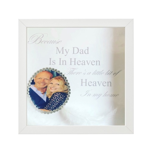 Because someone is in heaven with crystal border photo and feathers