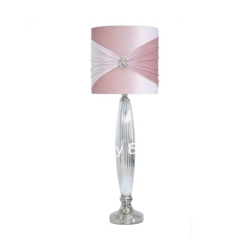 Pink Broach Chrome Glass Table Lamp