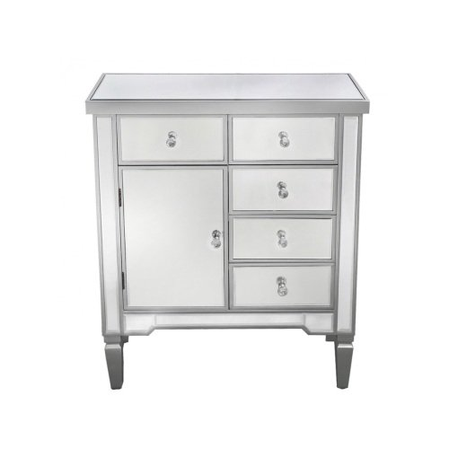 Silver Wood Mirror Chest