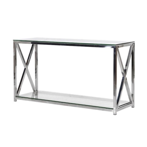 Cross Over Steel And Glass Console