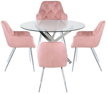 Dining Table And Pink Tuft Chairs Set