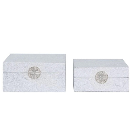Silver Faux Leather Set Of 2 Boxes