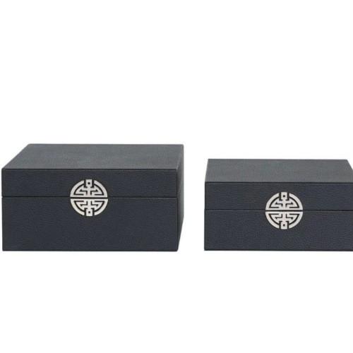Black Grain Leather And Silver Set Of 2 Boxes