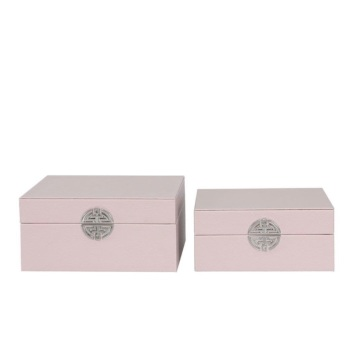 Pink Faux Leather And Silver Set Of 2 Boxes