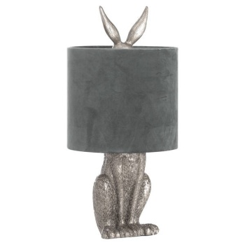 Silver Hare Lamp With Grey Velvet Shade