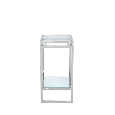 Stainless Steel Glass Tier Side Table