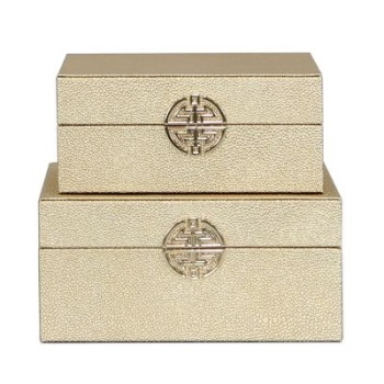 Gold Faux Leather Set Of 2 Boxes