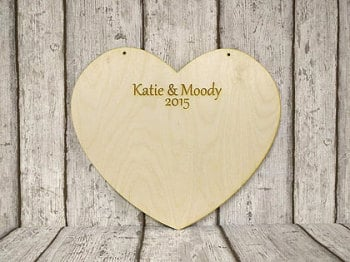Wooden Heart Wedding Guest Book, Personalised Wedding Guest Book,