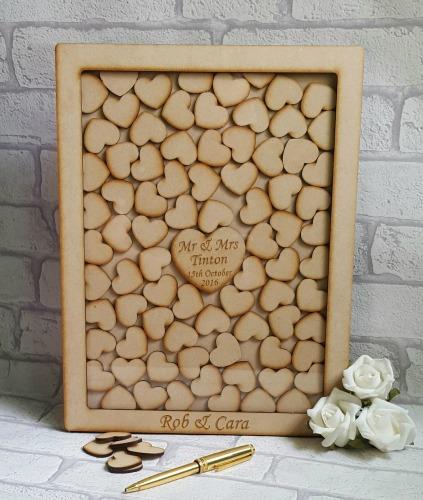Wedding Guest Book Alternative Heart Drop Box Frame