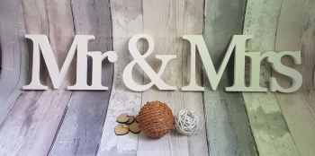 Mr & Mrs freestanding wooden letters