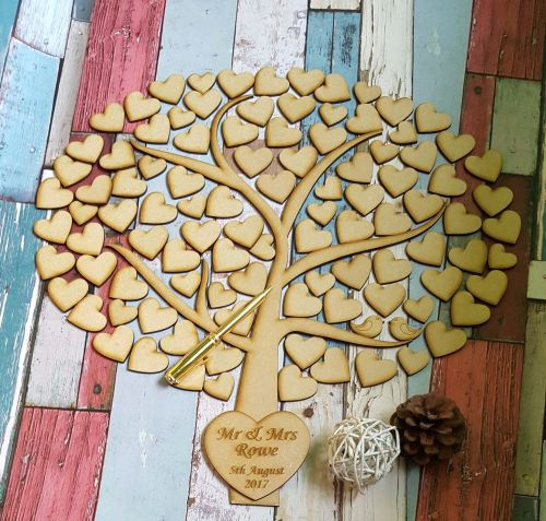 Wedding Tree Guestbook Wooden Guest Book Alternative Family Of Life Drop Box Heart Personalised
