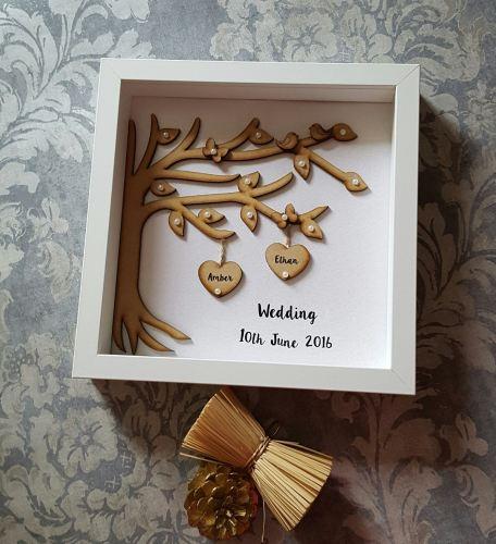 Personalised Photo Frame Wedding Gift: Wooden Tree Wedding Frame Gift