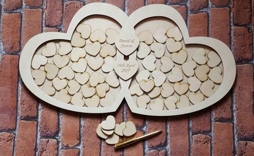 Wooden Double Heart Drop Box Wedding Guest Book Alternative