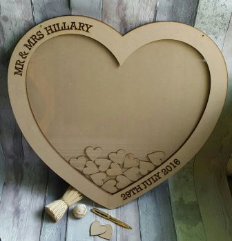 Large Heart Guest Book Cut Out Engraving