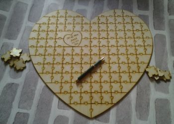 Heart Shaped Jigsaw Wedding Guestbook