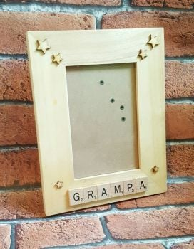 Wooden Frame with scrabble letters