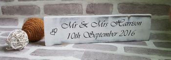 Rustic Wedding Gift Present Personalised Plaque Mr