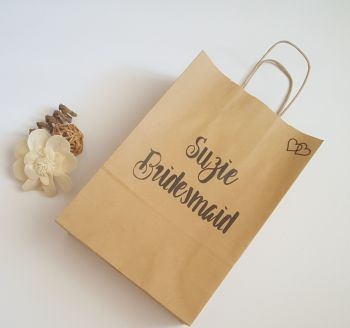 Personalised Gift Bag, Bridesmaid Gift Bag, Wedding Favour Bag, Wedding Gift Bag Small paper Kraft gift