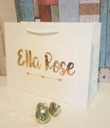 Personalised Gift Bag, Luxury Gift Bags, Bridesmaid Gift Bags, Gift Bag, White Gift Bag With Rose Gold Writing