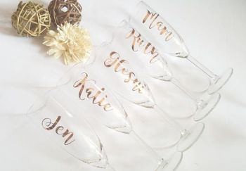 Bride Wedding Glass - Bridesmaid Glass, Bridal Party Glass, Bridesmaid Champagne Flute. Bride Personalised Champagne Flute, Bridal Party Glasses