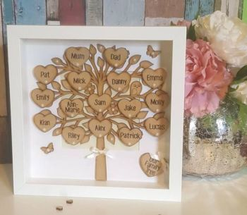 Handmade personalised wooden family tree frame