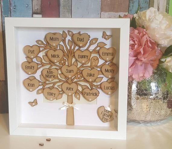 Handmade personalised wooden family tree frame