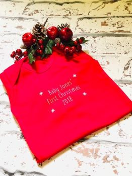 Baby's First Christmas Babygro, personlaised Baby's First Christmas Sleepsuit