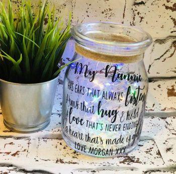 image 0 image 1 Nanna Gift, Personalised Light Jar Gift For Nannie, Light Jar Gift For Grandma. Personalised Night Light, LED Light Jar