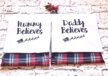 Christmas Family Pyjamas, Mummy Believes, Daddy Believes