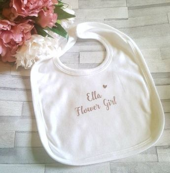 Personalised Flower Girl Bib, Personalised Baby Bib