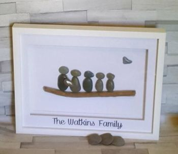 Pebble Art Family Frame, Framed Pebble Family, Personalised Pebble Family Frame