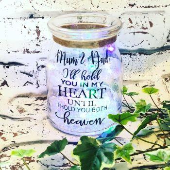 Mum & Dad Memory Light Jar, Lost Loved One Light Jar, Personalised Memory Gift, Sympathy Gift