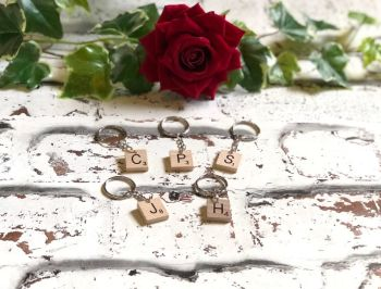 Personalised Wedding Favour Keyring, Initial Keyring, Scrabble letter Keyring, Personalised Initial Keyring, Personalised Bag Charm