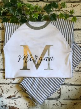 Children's Personalised Pyjama Set, Unisex Kids Stripey PJ Set