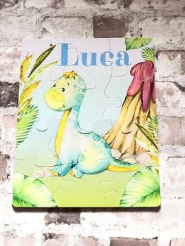 Personalised Dinosaur Jigsaw, Kids Jigsaw Puzzle, Toddler Dino, 12 Pieces