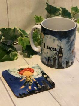 Peter Pan Personalised Mug And Coaster Set