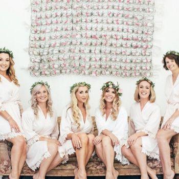 Plain Satin Robes, Plain Bride Robe, Satin Lace Plain Wedding Robes, Lace Trim Dressing Gown, Wedding Party Dressing Gowns, Bridal Gowns