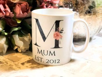 Mum Established Mug. Beautiful Black Fleck Monogram Floral Design Mug, Can Be Nan, Grandma Etc. Mothers Day Gift