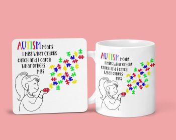 Autism Awareness Mug & Coaster Set. Autism Jigsaw Set