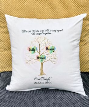 Family Tree Cushion, Lockdown 2020 Family Tree Gift, Plush Personalised Cushion