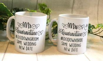 Lockdown Bride And Groom Mug Gift Set, Quarantine Hubby And Wifey, Lockdown Wedding, Wedding Postponed