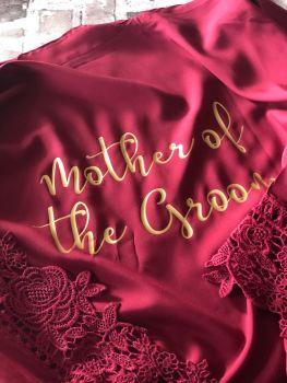 Wedding Dressing Gown, Bridesmaid Wedding Robe, Bride Dressing Gown, Cotton Wedding Robe, Cotton and Lace Dressing Gown, Wedding Party Robes