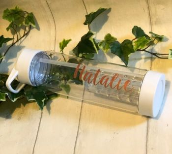 Personalised Water bottle With Straw, Love Your Personalised Bottle, Clear Water Bottle With Infuser. Island Bottle, Beach Water Bottle