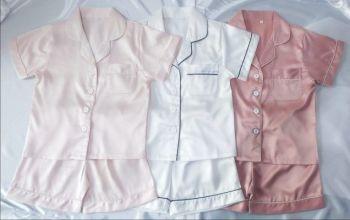 Childrens Personalised Satin Short Pyjamas