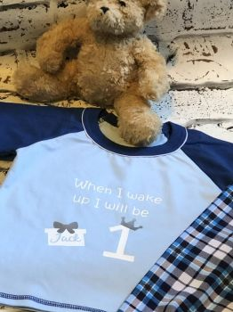 1st Birthday Baby Personalised Pyjamas, - When I Wake Up I Will Be One Cotton Pyjamas