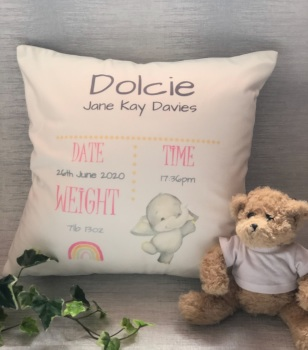 New Baby Birth Stats Cushion. Personalised Baby Cushion
