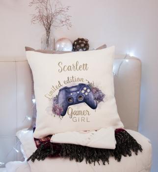 Personalised Gamer  Girl Cushion, Gamer Cushion, Gamer Gift,