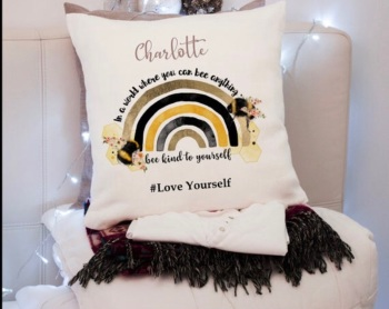 Bee kind to yourself, love Yourself, Plush Personalised Cushion