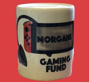 Gamer Money Box, Personalised Ceramic Gamer Fund Money Box, Piggy Bank, Kids Gaming Design Money Box